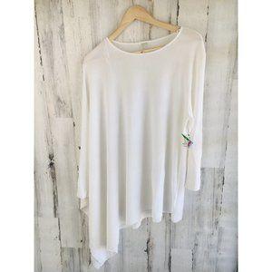 Anne Klein White Knit Asymmetric Top Poncho Tunic